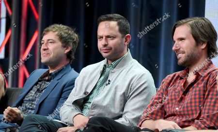 """Stock Picture of Mark Duplass, from left, Nick Kroll and Jon Lajoie participate in """"The League"""" panel at the FX Summer TCA Tour at the Beverly Hilton Hotel, in Beverly Hills, Calif"""