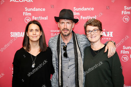 "Producers, from left to right, Julie Lynn, Wicks Walker, and Bonnie Curtis pose at the premiere of ""Last Days in the Desert"" during the 2015 Sundance Film Festival, in Park City, Utah"