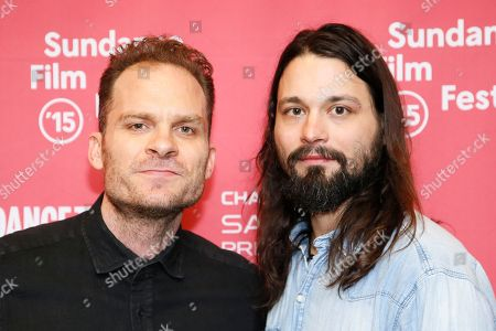"Composers Danny Bensi, left, and Saunder Jurriaans, right, pose at the premiere of ""Last Days in the Desert"" during the 2015 Sundance Film Festival, in Park City, Utah"