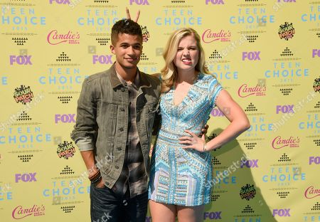 Stock Photo of Jordan Fisher, left and Anna Grace Barlow arrive at the Teen Choice Awards at the Galen Center, in Los Angeles