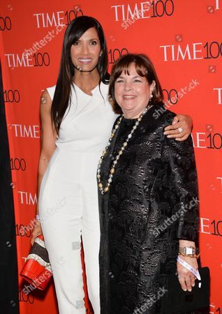 Padma Lakshmi, left, and Ina Garten attend the TIME 100 Gala, celebrating the 100 most influential people in the world, at the Frederick P. Rose Hall, Time Warner Center, in New York