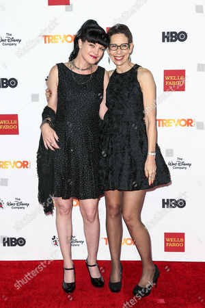 Pauley Perrette, left, and Abbe Land attend 2015 TrevorLIVE LA held at the Hollywood Palladium, in Los Angeles