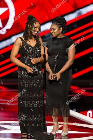 Alicia Garza, left, and Opall Tometi are seen at 2016 Black Girls Rock! at New Jersey Performing Arts Center on Friday, April, 1, 2016 in Newark, NJ