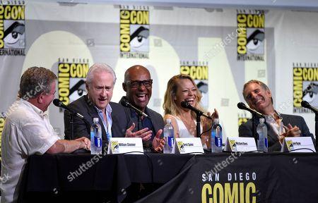 "William Shatner, from left, Brent Spiner, Michael Dorn, Jeri Ryan, and Scott Bakula attend the ""Star Trek"" panel on day 3 of Comic-Con International, in San Diego"