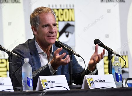 "Scott Bakula speaks at the ""Star Trek"" panel on day 3 of Comic-Con International, in San Diego"