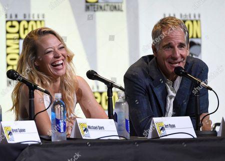 "Jeri Ryan, left, and Scott Bakula attend the ""Star Trek"" panel on day 3 of Comic-Con International, in San Diego"
