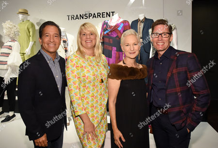 Bruce Rosenblum, from left, and costume designers, Lou Eyrich American Horror Story, Marie Schley Transparent and Daniel Lawson The Good Wife are seen at the 10th Annual Art of Television Costume Design Exhibition opening at the FIDM Museum & Galleries on the Park, in Los Angeles