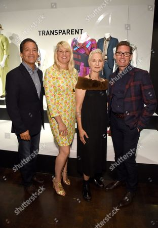 Bruce Rosenblum, from left, and costume designers, Lou Eyrich American Horror Story, Marie Schley Transparent, and Daniel Lawson The Good Wife are seen at the 10th Annual Art of Television Costume Design Exhibition opening at the FIDM Museum & Galleries on the Park, in Los Angeles