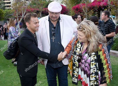 Paolo Nieddu, costume designer of Empire, from left, Salvador Perez, and Julie Wise are seen at the 10th Annual Art of Television Costume Design Exhibition opening at the FIDM Museum & Galleries on the Park, in Los Angeles
