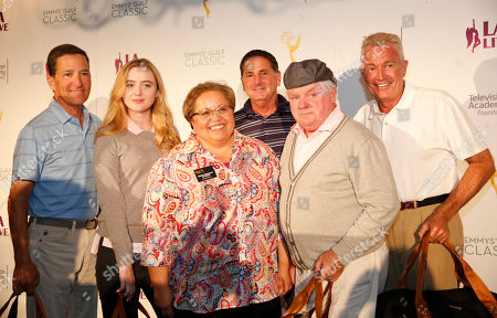 Television Academy Chairman Bruce Rosenblum, from left, Kathryn Newton, Television Academy Foundation Executive Director Norma Provencio Pichardo, Jeff Mazzaro, Jack McGee, and Bill Tripodi attend the 2016 Emmys Golf Classic presented by the Television Academy Foundation at the Wilshire Country Club, in Los Angeles