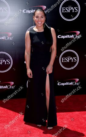 American softball player Sierra Romero arrives at the ESPY Awards at the Microsoft Theater, in Los Angeles