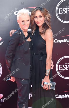 Professional surfer, Keala Kennelly, and Nikki DiSanto arrive at the ESPY Awards at the Microsoft Theater, in Los Angeles