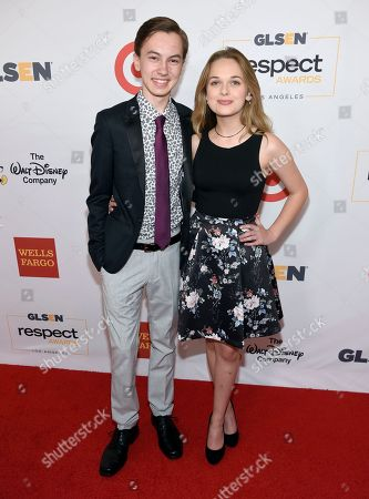 Hayden Bbyerly, left, and Alyssa Jirrels arrive at the GLSEN Respect Awards at the Beverly Wilshire Hotel, in Beverly Hills, Calif