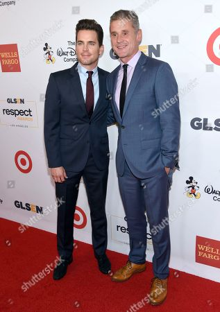 Matt Bomer, left, and Simon Halls arrive at the GLSEN Respect Awards at the Beverly Wilshire Hotel, in Beverly Hills, Calif