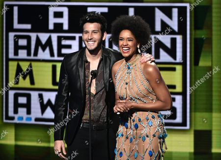 Sebastian Yatra, left, and Jeimy Osorio appear at the Latin American Music Awards at the Dolby Theatre, in Los Angeles