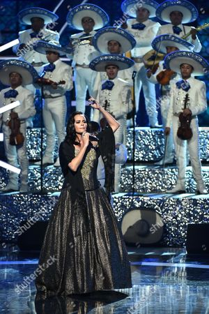 Shaila Durcal performs a tribute to Juan Gabriel at the Latin American Music Awards at the Dolby Theatre, in Los Angeles