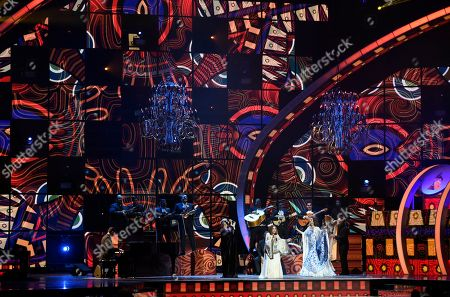 """Eugenia Leon, from left, Tania Libertad and Guadalupe Pineda, of """"Las Tres Grande"""" perform """"Mi Canto Viene del Sur""""at the 17th annual Latin Grammy Awards at the T-Mobile Arena, in Las Vegas"""