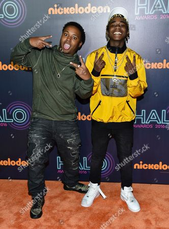 Stock Picture of Detroit rap duo Zayion McCall, left, and Zay Hilfigerrr attend the 2016 Nickelodeon HALO Awards at Pier 36, in New York