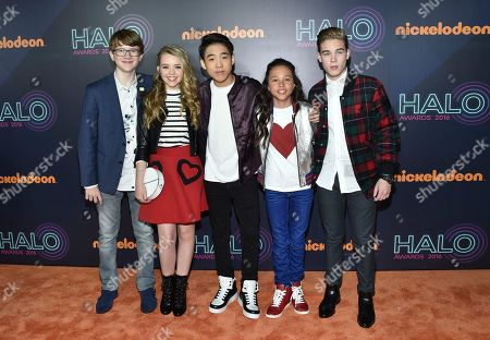 "School of Rock"" cast members, from left, Aidan Miner, Jade Pettyjohn, Lance Lim, Breanna and Ricardo Hurtado attend the 2016 Nickelodeon HALO Awards at Pier 36, in New York"