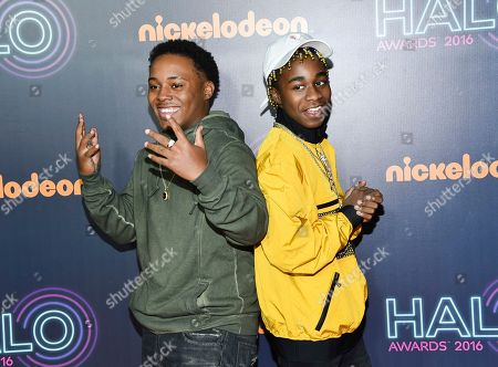 Stock Photo of Detroit rap duo Zayion McCall, left, and Zay Hilfigerrr attend the 2016 Nickelodeon HALO Awards at Pier 36, in New York