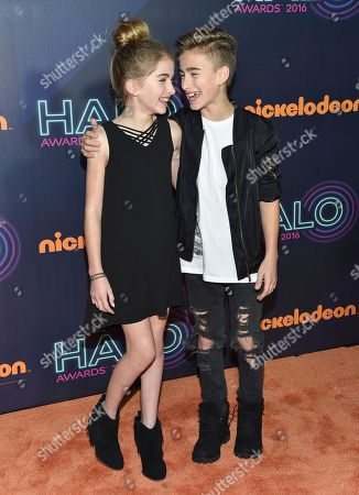 Stock Photo of Singers Lauren Orlando, left, and Johnny Orlando attend the 2016 Nickelodeon HALO Awards at Pier 36, in New York