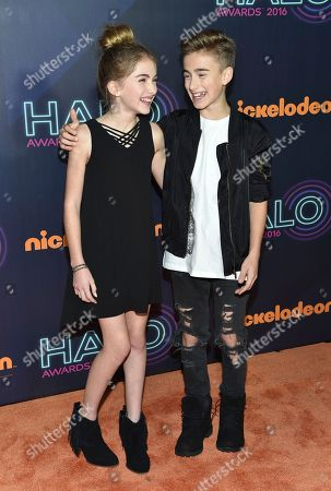 Stock Image of Singers Lauren Orlando, left, and Johnny Orlando attend the 2016 Nickelodeon HALO Awards at Pier 36, in New York