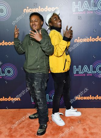 Detroit rap duo Zayion McCall, left, and Zay Hilfigerrr attend the 2016 Nickelodeon HALO Awards at Pier 36, in New York