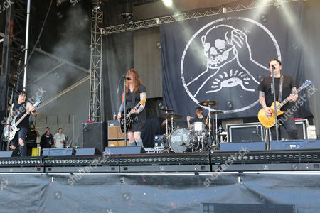Laura Jane Grace, James Bowman, Atom Willard and Inge Johansson with Against Me! performs during the 2016 Shaky Knees Festival at Centennial Olympic Park, in Atlanta