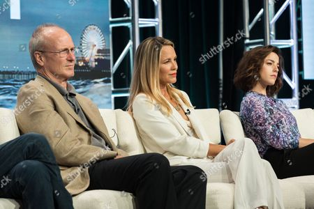 """Stock Picture of William Hurt, from left, Maria Bello, and Olivia Thrilby participate in the """"Goliath"""" panel during the Amazon Television Critics Association summer press tour, in Beverly Hills, Calif"""