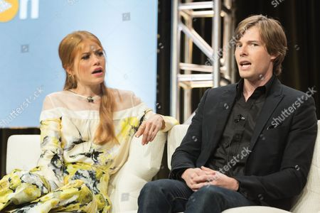 """Genevieve Angelson, left, and Hunter Parrish participate in the """"Good Girls Revolt"""" panel during the Amazon Television Critics Association summer press tour, in Beverly Hills, Calif"""