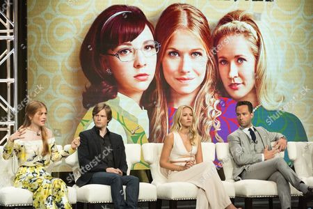"""Genevieve Angelson, from left, Hunter Parrish, Anna Camp,and Chris Diamantopoulos participate in the """"Good Girls Revolt"""" panel during the Amazon Television Critics Association summer press tour, in Beverly Hills, Calif"""