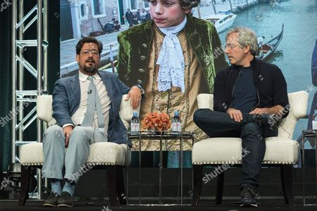 """Roman Coppola, left, and Paul Weistz participate in the """"Mozart in the Jungle"""" panel during the Amazon Television Critics Association summer press tour, in Beverly Hills, Calif"""