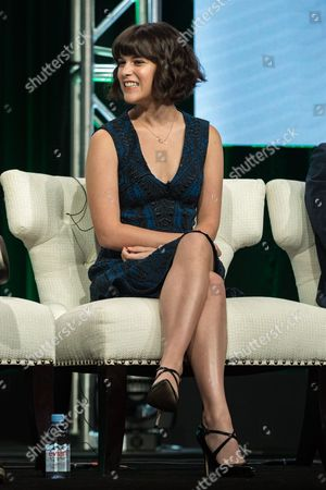 """Alexandra Socha participates in the """"Red Oaks"""" panel during the Amazon Television Critics Association summer press tour, in Beverly Hills, Calif"""