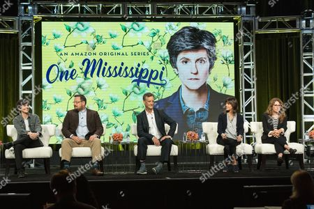 """Tig Notaro, from left, Noah Harpster, John Rothman, Kate Robin, and Nicole Holofcener participate in the """"One Mississippi"""" panel during the Amazon Television Critics Association summer press tour, in Beverly Hills, Calif"""