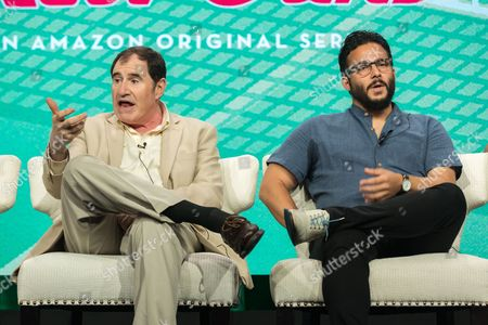 """Richard Kind, left, and Ennis Esmer participate in the """"Red Oaks"""" panel during the Amazon Television Critics Association summer press tour, in Beverly Hills, Calif"""
