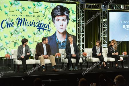 """Tig Notaro, from left, Noah Harpster, John Rothman, Kate Robin, and Nicole Holofcener participate in the """"One Mississipi"""" panel during the Amazon Television Critics Association summer press tour, in Beverly Hills, Calif"""