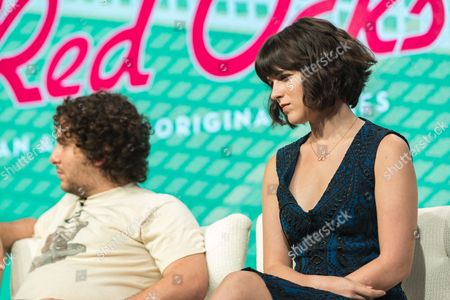 """Oliver Cooper, left, and Alexandra Socha participate in the """"Red Oaks"""" panel during the Amazon Television Critics Association summer press tour, in Beverly Hills, Calif"""