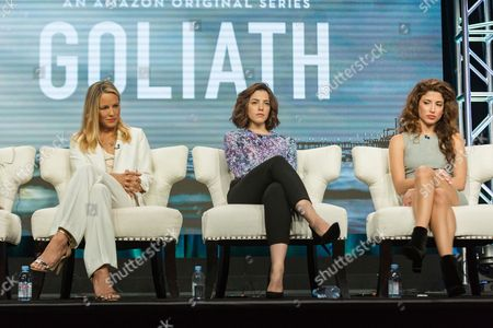 "Maria Bello, from left, Olivia Thirlby, and Tania Raymonde participate in the ""Goliath"" panel during the Amazon Television Critics Association summer press tour, in Beverly Hills, Calif"