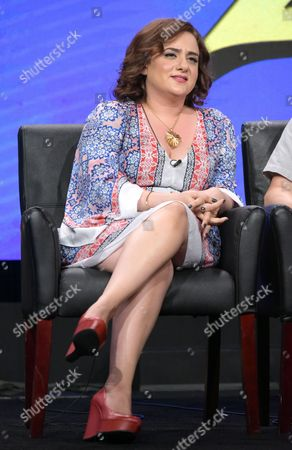 """Artemis Pebdani participates in the """"Son of Zorn"""" panel during the Fox Television Critics Association summer press tour, in Beverly Hills, Calif"""