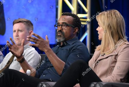 """Johnny Pemberton, from left, Tim Meadows and Cheryl Hines participate in the """"Son of Zorn"""" panel during the Fox Television Critics Association summer press tour, in Beverly Hills, Calif"""