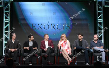 "Alan Ruck, from left, Alfonso Herrera, Ben Daniels, Geena Davis, creator/executive producer Jeremy Slater and executive producer/director Rupert Wyatt participate in the panel for ""The Exorcist"" during the Fox Television Critics Association summer press tour, in Beverly Hills, Calif"