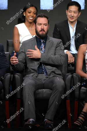 Mark-Paul Gosselaar, center, speaks as Meagan Holder, left, and Tim Jo, look on at the 'Pitch' panel during the Fox Television Critics Association summer press tour, in Beverly Hills, Calif