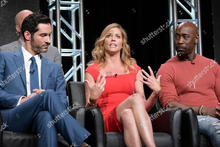 "Stock Picture of Tom Ellis, from left, Tricia Helfer and DB Woodside participate in the ""Gotham/Lucifer"" panel during the Fox Television Critics Association summer press tour, in Beverly Hills, Calif"