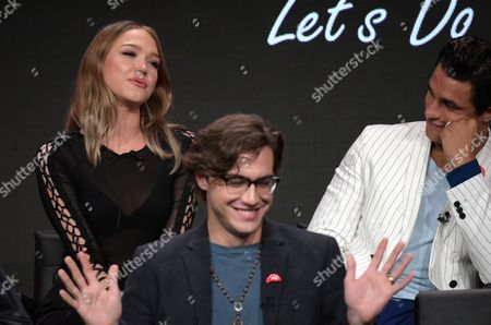 "Ivy Levan, from left, Ryan McCartan and Staz Nair participate in the panel for ""The Rocky Horror Picture Show"" during the Fox Television Critics Association summer press tour, in Beverly Hills, Calif"