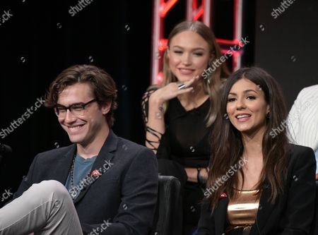 "Ryan McCartan, from left, Ivy Levan, and Victoria Justice participate in the panel for ""The Rocky Horror Picture Show"" during the Fox Television Critics Association summer press tour, in Beverly Hills, Calif"