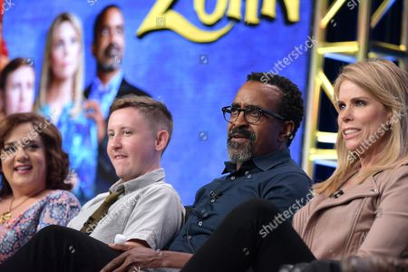"""Artemis Pebdani, from left, Johnny Pemberton, Tim Meadows and Cheryl Hines participate in the """"Son of Zorn"""" panel during the Fox Television Critics Association summer press tour, in Beverly Hills, Calif"""