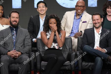 "Meagan Holder, from top left, Tim Jo, executive producer/director Paris Barclay and executive producer Helen Bartlett and Mark-Paul Gosselaar, from bottom left, Kylie Bunbury and creator/executive producer Dan Fogelman participate in the ""Pitch"" panel during the Fox Television Critics Association summer press tour, in Beverly Hills, Calif"