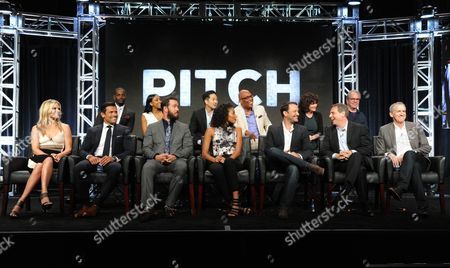 Mo McRae, from top left, Meagan Holder, Tim Jo, executive producer/director Paris Barclay, executive producer Helen Bartlett, executive producer Tony Bill and Ali Larter, from bottom left, Mark Consuelos, Mark-Paul Gosselaar, Kylie Bunbury, creator/executive producer, Dan Fogelman, creator/executive producer, Rick Singer and executive producer Kevin Falls participate in the 'Pitch' panel during the Fox Television Critics Association summer press tour, in Beverly Hills, Calif
