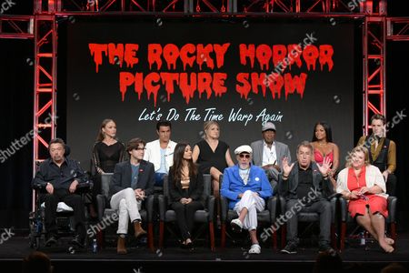 "Ivy Levan, back row from left, Staz Nair, Annaleigh Ashford, Ben Vereen, Christina Milian and Reeve Carney, and front row from left, Tim Curry, Ryan McCarten, Victoria Justice, executive producer Lou Adler, executive producer/director/choreographer Kenny Ortega, and executive producer Gail Berman participate in the panel for ""The Rocky Horror Picture Show"" during the Fox Television Critics Association summer press tour, in Beverly Hills, Calif"