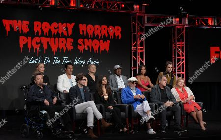 "Ivy Levan, from top left, Staz Nair, Annaleigh Ashford, Ben Vereen, Christina Milian, Reeve Carney, and Tim Curry, from bottom left, Ryan McCarten, Victoria Justice, executive producer Lou Adler, executive producer/director/choreographer Kenny Ortega, and executive producer Gail Berman participate in the panel for ""The Rocky Horror Picture Show"" during the Fox Television Critics Association summer press tour, in Beverly Hills, Calif"